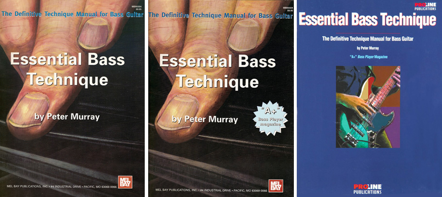L-R: First edition, first printing, (Mel Bay Publications, 1995), second printing, and ProLine edition sold at Guitar Center stores
