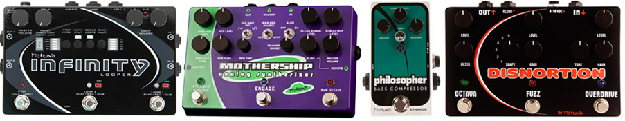 Infinity Looper, Mothership Analog Guitar Synth, Philosopher Bass Compressor, Pignortion Distortion